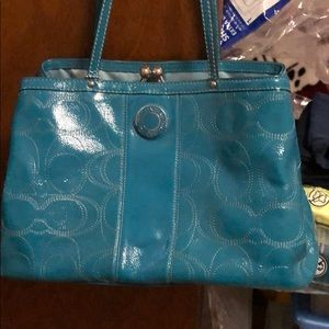 Coach purse turquoise shoulder bag! Like new